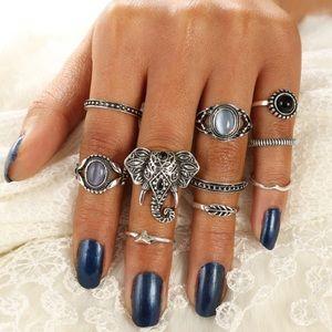 Jewelry - New 10 Piece Elephant Stone Ring Set